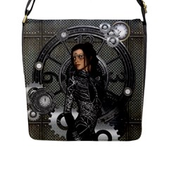 Steampunk, Steampunk Lady, Clocks And Gears In Silver Flap Messenger Bag (l)  by FantasyWorld7