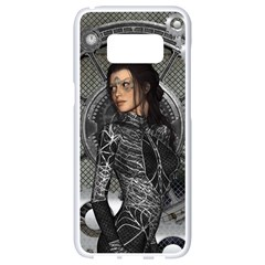 Steampunk, Steampunk Lady, Clocks And Gears In Silver Samsung Galaxy S8 White Seamless Case by FantasyWorld7
