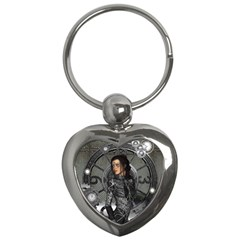 Steampunk, Steampunk Lady, Clocks And Gears In Silver Key Chains (heart)  by FantasyWorld7