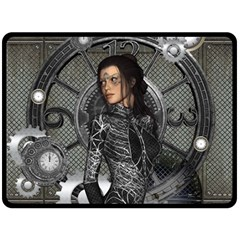 Steampunk, Steampunk Lady, Clocks And Gears In Silver Fleece Blanket (large)  by FantasyWorld7