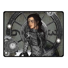 Steampunk, Steampunk Lady, Clocks And Gears In Silver Fleece Blanket (small) by FantasyWorld7