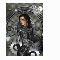 Steampunk, Steampunk Lady, Clocks And Gears In Silver Large Garden Flag (two Sides) by FantasyWorld7