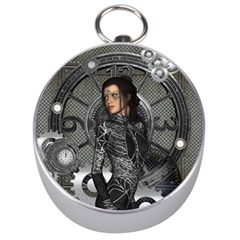 Steampunk, Steampunk Lady, Clocks And Gears In Silver Silver Compasses by FantasyWorld7