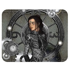 Steampunk, Steampunk Lady, Clocks And Gears In Silver Double Sided Flano Blanket (medium)  by FantasyWorld7