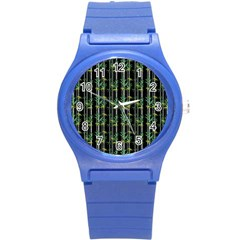 Bamboo Pattern Round Plastic Sport Watch (s) by ValentinaDesign