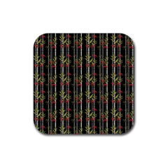 Bamboo Pattern Rubber Coaster (square)  by ValentinaDesign