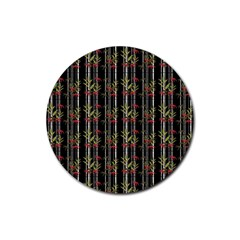 Bamboo Pattern Rubber Round Coaster (4 Pack)  by ValentinaDesign