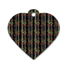Bamboo Pattern Dog Tag Heart (one Side) by ValentinaDesign