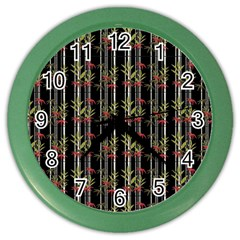 Bamboo Pattern Color Wall Clocks by ValentinaDesign