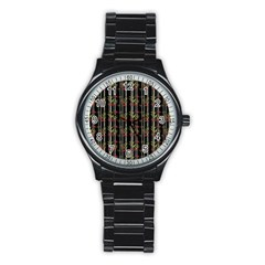 Bamboo Pattern Stainless Steel Round Watch by ValentinaDesign