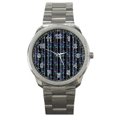 Bamboo Pattern Sport Metal Watch by ValentinaDesign
