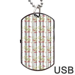 Bamboo Pattern Dog Tag Usb Flash (two Sides) by ValentinaDesign