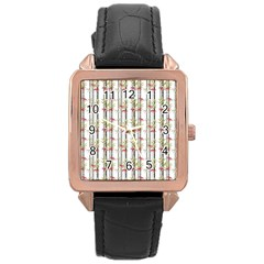 Bamboo Pattern Rose Gold Leather Watch  by ValentinaDesign