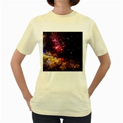 Space Colors Women s Yellow T Shirt by ValentinaDesign