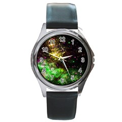 Space Colors Round Metal Watch by ValentinaDesign