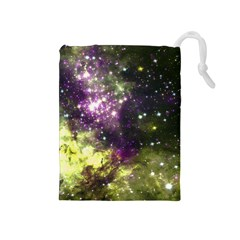 Space Colors Drawstring Pouches (medium)  by ValentinaDesign