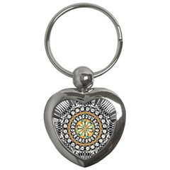 High Contrast Mandala Key Chains (heart)  by linceazul