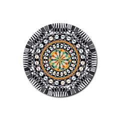 High Contrast Mandala Rubber Coaster (round)  by linceazul