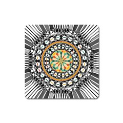 High Contrast Mandala Square Magnet by linceazul