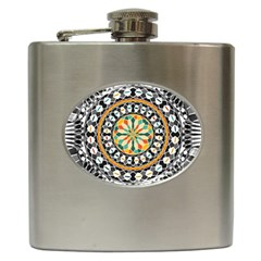High Contrast Mandala Hip Flask (6 Oz) by linceazul
