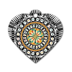 High Contrast Mandala Dog Tag Heart (two Sides) by linceazul