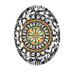 High Contrast Mandala Oval Filigree Ornament (two Sides) by linceazul