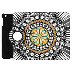 High Contrast Mandala Apple Ipad Mini Flip 360 Case by linceazul