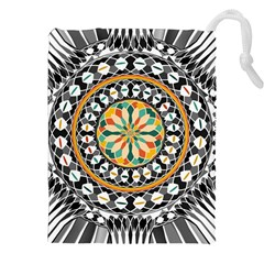 High Contrast Mandala Drawstring Pouches (xxl) by linceazul