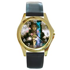 The Wonderful Women Of Earth Round Gold Metal Watch by FantasyWorld7
