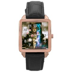 The Wonderful Women Of Earth Rose Gold Leather Watch  by FantasyWorld7