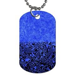 Modern Paperprint Blue Dog Tag (two Sides) by MoreColorsinLife