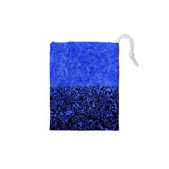 Modern Paperprint Blue Drawstring Pouches (xs)  by MoreColorsinLife
