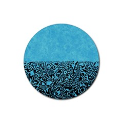 Modern Paperprint Turquoise Rubber Coaster (round)  by MoreColorsinLife
