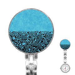Modern Paperprint Turquoise Stainless Steel Nurses Watch by MoreColorsinLife