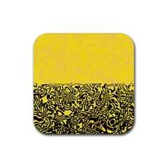 Modern Paperprint Yellow Rubber Coaster (square)  by MoreColorsinLife
