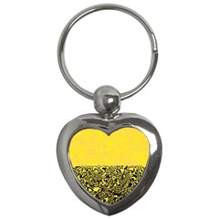 Modern Paperprint Yellow Key Chains (heart)  by MoreColorsinLife