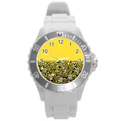 Modern Paperprint Yellow Round Plastic Sport Watch (l) by MoreColorsinLife