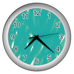 Background Green Abstract Wall Clocks (silver)