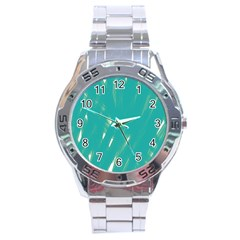 Background Green Abstract Stainless Steel Analogue Watch