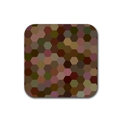 Brown Background Layout Polygon Rubber Coaster (square)