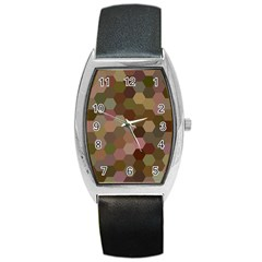 Brown Background Layout Polygon Barrel Style Metal Watch