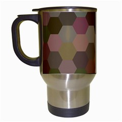 Brown Background Layout Polygon Travel Mugs (white) by Nexatart