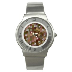 Brown Background Layout Polygon Stainless Steel Watch