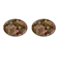 Brown Background Layout Polygon Cufflinks (oval)