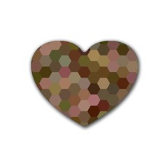 Brown Background Layout Polygon Rubber Coaster (heart)  by Nexatart