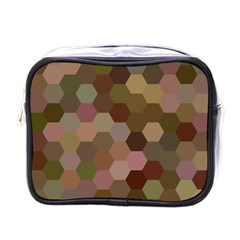 Brown Background Layout Polygon Mini Toiletries Bags