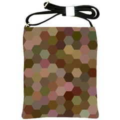 Brown Background Layout Polygon Shoulder Sling Bags by Nexatart
