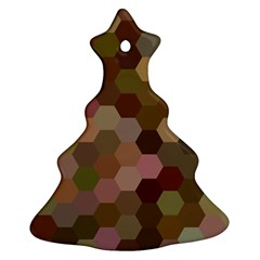 Brown Background Layout Polygon Christmas Tree Ornament (two Sides)