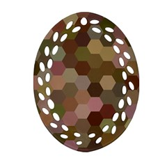 Brown Background Layout Polygon Oval Filigree Ornament (two Sides)