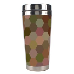 Brown Background Layout Polygon Stainless Steel Travel Tumblers by Nexatart